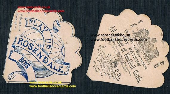 1890 Baines fan card Rossendale Boys Lancs Burnley Blackburn